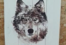 """картина на дереве """"Волк"""""""
